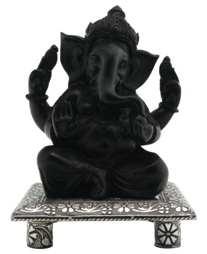 Ganesh Statue on Pedestal, Black