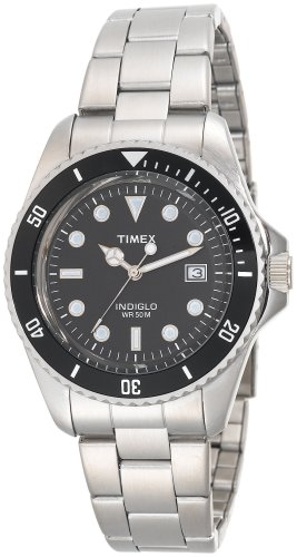 Timex Men's T29781 Classic Coin-Edged Bezel Silver-Tone Stainless Steel Bracelet Watch