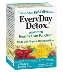 Traditional Medicinals Herbal Teas, Everyday Detox, 16 Tea Bags (Pack Of 3)
