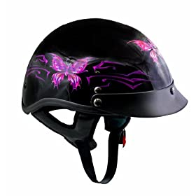 DOT Outlaw Gloss Black with Pink/Purple Butterflies Half Helmet - Size : Small
