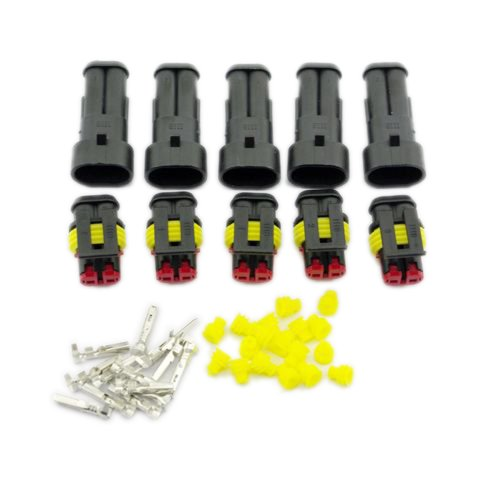 Yiding 5 Kit Set Car Waterproof Electrical Wire Connector Plug 2 Pin Way Terminals Hid