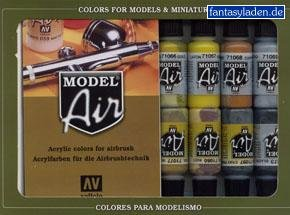 Basic Colors: Acrylic 16 Airbrush Paint Set for Model & Hobby (Vallejo 71178) (Vallejo Model Air compare prices)