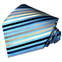 LORENZO CANA - Luxury Tie Jacquard Woven Italian 100% Silk Handmade Necktie Ties - Blue Brown Striped Pattern - 77058