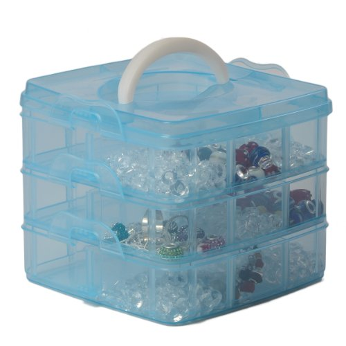Blue 3 Tier Adjustable 18 Compartment Slot Plastic Craft Storage Box Jewellery Tool Container Small