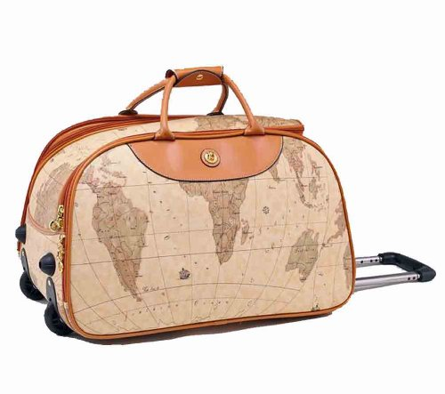 Rolling duffle bags world map design leather like rolling duffle world map design leather like rolling duffle messenger bag features gumiabroncs Image collections