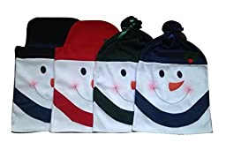 D-FantiX Christmas Decorations Snowman Chair Back Covers Christmas Dining Room Chair Covers Set of 4 Red