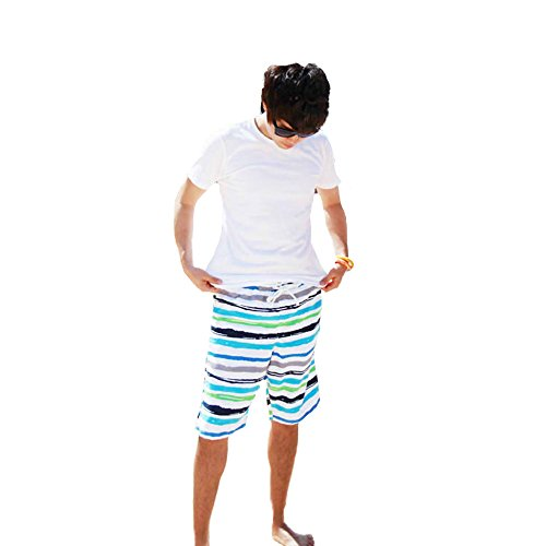 【Buy the world】 メンズ スイム ウェア 海パン 海水パンツ サーフパンツ ストライプ 男性 水着 ゴム 紐 ナイロン ブルー L