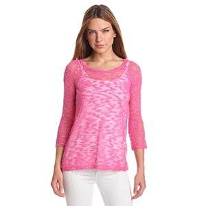 Kensie Women's Fine Gauge Slub Sweater, Wild Pink, Large
