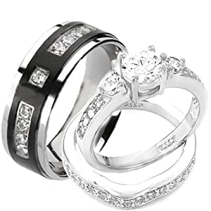 Wedding rings set His and Hers TITANIUM & STAINLESS STEEL Engagement Bridal Rings set (Size Men's 9 Women's 10)