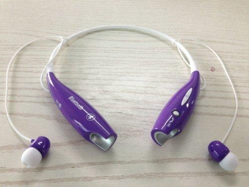 Soundbeats Universal Hv-800 Wireless Music A2Dp Stereo Bluetooth Headset Universal Vibration Neckband Style Headset Earphone Headphone For Cellphones Enabled Bluetooth (Purple, Hbs-800)