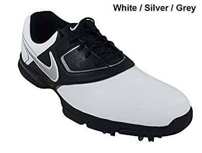 Nike chaussure golf homme Heritage III 2013 sport crampons lacets nouveau - Blanc/Silver/Noir - 44.5