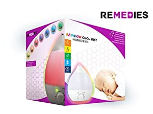 """Cool Mist Humidifier - Ultrasonic Humidifier """"No Noise"""" + Aroma Diffuser - 7 Color Cozy LED Light - 2 Year Warranty! - Best Personal Humidifier. from REMEDIES"""