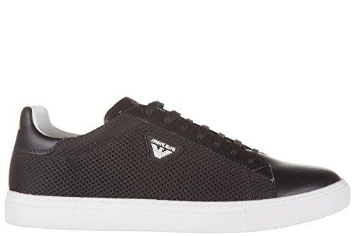 Armani Jeans scarpe sneakers uomo in pelle nuove nero EU 42 935022 6A421 00020