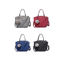Fairysan Ladies Fashion Winter Leisure Simple Dull Polish Shoulder Handbag with Ball Plush Ornament