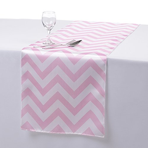 Remedios 14x108 Inch Satin Chevron Wedding Party Table Runner Pink (Table Runner Pink compare prices)