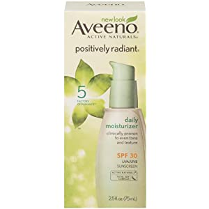 Aveeno Active Naturals Positively Radiant Daily Moisturizer SPF-30, UVA and UVB Sunscreen, 2.5 Ounce Bottle