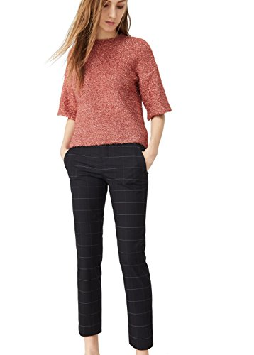 mango-check-crop-straight-trousers-size8-colordark-navy