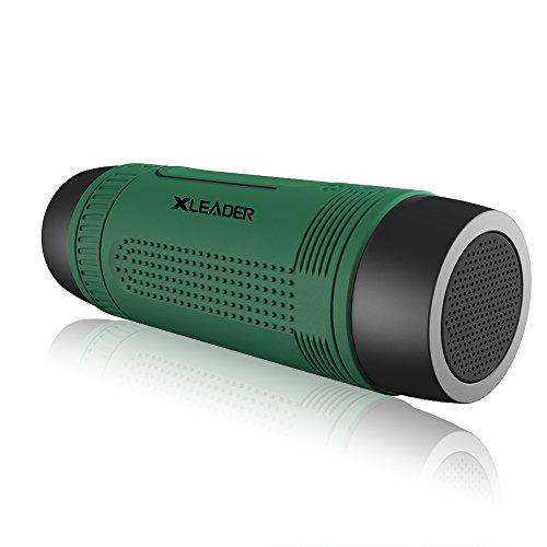 Xleader防水Bluetooth スピーカー ポータブルスピーカーは付加の4000mAhモバイルバッテリー 急速充電とLED懐中電灯機能、iPhone iPad Samsung用タブレットと自転車に適合する (グリーン)
