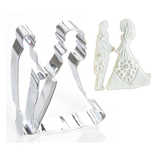 Bride Groom Shape Metal Cookie Cutters Mold Cake Chocolate Egg Fondant Mould Biscuit Pastry Set Party Kitchen DIY Tools (Ar15 Flash Hider Stainless Steel compare prices)