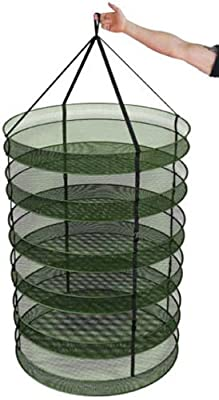 "Advanced Nutrients 3"" Thickest Best Quantity Steel Rings Foldable Heavy Duty Hanging Dryer Rack, Collapsible Mesh Hydroponic Drying Rack Net w/ Clips&Storage Carrying Bag"