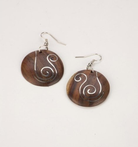 Brown silver swirl 30mm earrings coco wood wooden pair