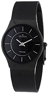 Skagen Women's Titanium Black Dial and Black Mesh Watch 233STMB