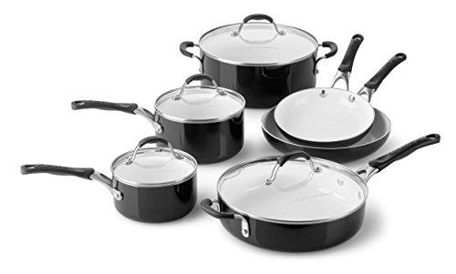 Calphalon 10 Piece Ceramic Nonstick Cookware Set, Medium, Black