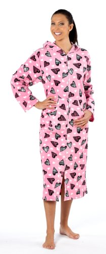 Ladies Soft Cosy Fleece Zip Up Dressing Gown Zip Through Hooded Bathrobe Lounger Hearts 14-16 Pink