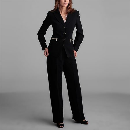 Kasper 3 Button Black Pant Suit