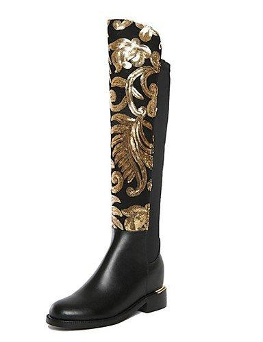 Donna stivali inverno Appartamenti Casual in pelle tacco piatto altre nere a piedi,Black,US9 / EU40 / UK7 / CN41