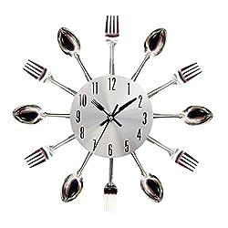 BESSKY Modern Design Sliver Cutlery Kitchen Utensil Wall Clock Spoon Fork Clock, Silver