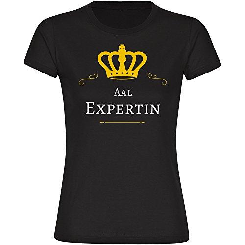 T-Shirt Aal Expertin schwarz Damen Gr. S bis 2XL, Größe:M