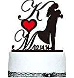 Bride and Groom Cake Topper - Acrylic Silhouette with Your Wedding Date - Custom Cake Topper and a Free Display