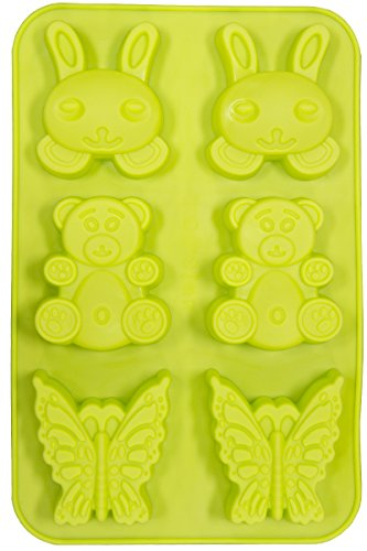 Soap Molds - Le Juvo Silicone Mold- Rabbits, Bears, And Butterflies - Green