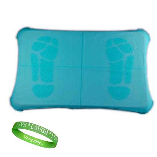 Nintendo Wii Fit BLUE Silicone Skin Cover With Foot Print Plus A Live*Laugh*Love Wrist Band!!!