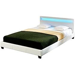 Corium LED Polsterbett (Paris) (weiss)(180x200cm) modernes Bett / Kunst - Leder / mit Lattenrost / Doppelbett