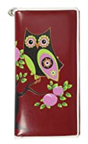 Far Nine Owl on Branch Zip Around Wallet Wine