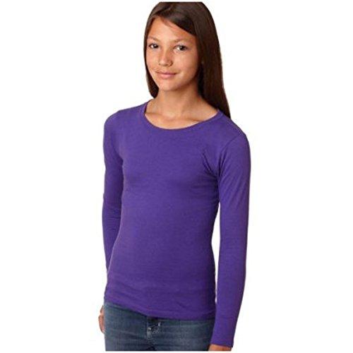 Next Level Girls Long Sleeve T-Shirt, Purple, Size Small