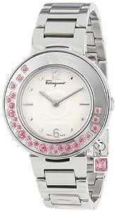 Salvatore Ferragamo Women's FF5010013 Gancino Sparkling Stainless Steel Pink Topaz Rotating Bezel Watch by Salvatore Ferragamo