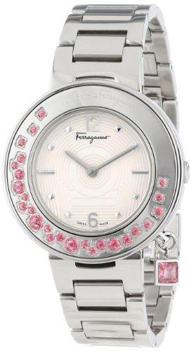 Salvatore Ferragamo Women's FF5010013 Gancino Sparkling Stainless Steel Pink Topaz Rotating Bezel Watch image