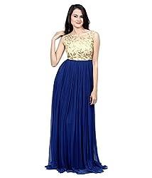 ASHAPURA CREATION Women's Faux Georgette Ethnic Gown (Gold_Jari_Gown_1010_Navy-Blue_Free Size)