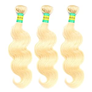 BELLABH® Best #613 Bleach Blonde Brazilian Remy Human Hair Body Wave Weaves Wavy Extensions Machine Weft 2 Bundles Free Shipping