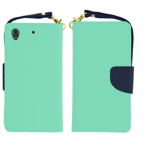 Miniturtle, Flip Book Cover Pu Leather Colorful Wallet Phone Case Card Holder With Wrist Strap And Lcd Screen Protector Film For Sony Xperia Z1S /T Mobile (Mint Green / Blue)
