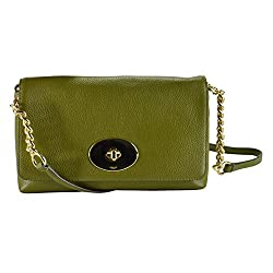 Coach Pebbled Leather Crosstown Chain Crossbody Bag 53083 Moss