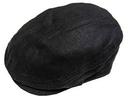 New York Hat and Cap Linen 1900 Ivy Cap, Black, L/XL