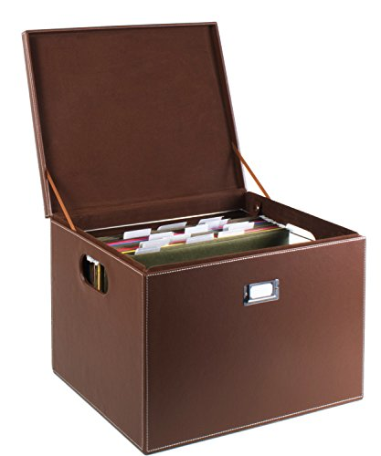 G.U.S. Decorative Office File and Portable Storage Box For Hanging Folders Letter Or Legal, Brown (Stackable Filing Cabinets compare prices)