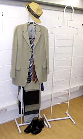 Stylish clothes valet stand showing clothes hanging on stand