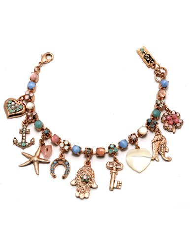 24K Rose Gold Plated Bracelet from 'Flow' Collection by Amaro Jewelry Studio Crafted with Amazonite, Blue Lace Agate, Mother of Pearl, Pink Mussel Shell, Pearl, Rose Quartz, Variscite and Swarovski Crystals, Decorated with Lovely Charms