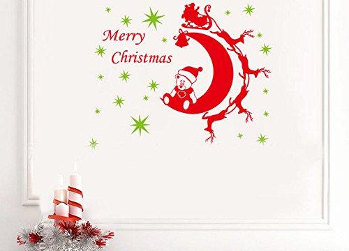 Toprate(Tm) Christmas Merry Christmas Bear Moon Deer Car Family Christmas Atmosphere Home Art Decor Decal Love Kids Bedroom front-60871