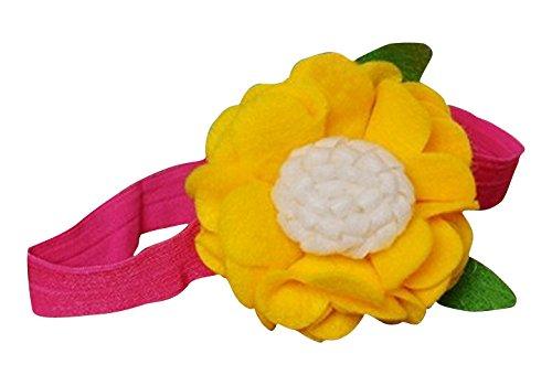 PinkXenia Felt Flower Rosette Ruffle Fall Yellow Newborn BabyGirl Soft Headband
